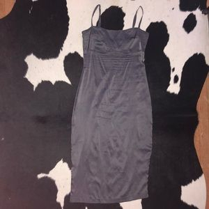 Betsey Johnson gray silk slip midi dress